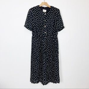 Vintage polka dot shirt dress pleated skirt black